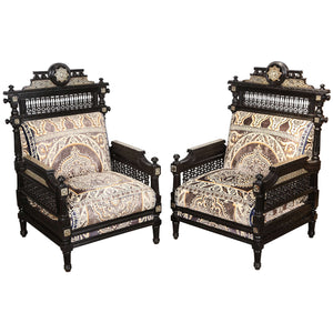 Antique Syrian Moorish Style Black Armchairs