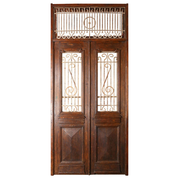 Set of French Painted Double Entry Door with Iron Insert