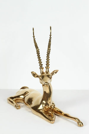 Large North African Brass Resting Antelope Sculpture