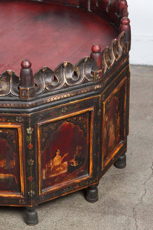 Anglo Indian Hand-Painted Teak Coffee Table