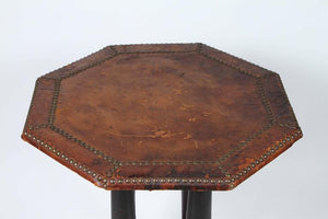 Antique Octagonal Brown Leather Studded Side Table