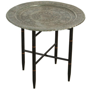 Antique Persian Copper Tray Side Table