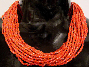 African Multi Strands Red Necklace