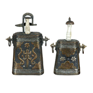 Set of Two Moroccan Antique Gun Powder Case Flask