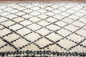 Moroccan White and Black Beni Ouarain Rug