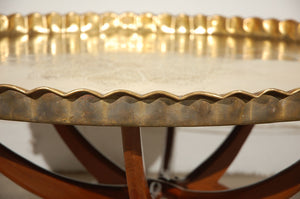 Brass Tray Table with Folding Spider Stand 36""
