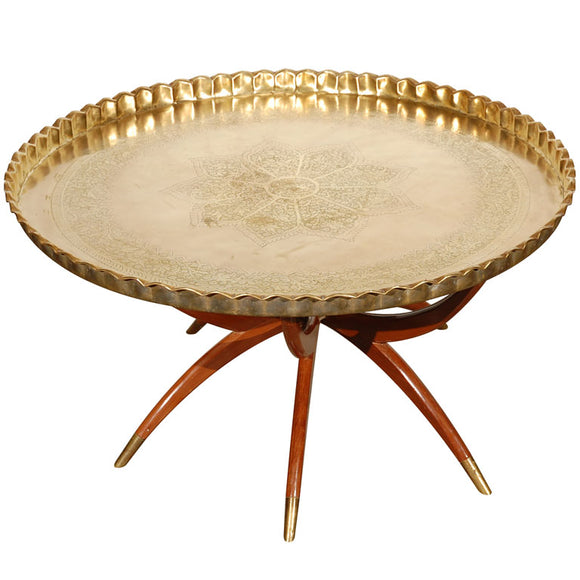 Brass Tray Table with Folding Spider Stand 36