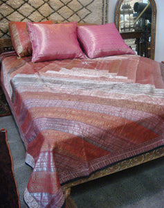 Indian Wedding Silk Bedspread Patchwork