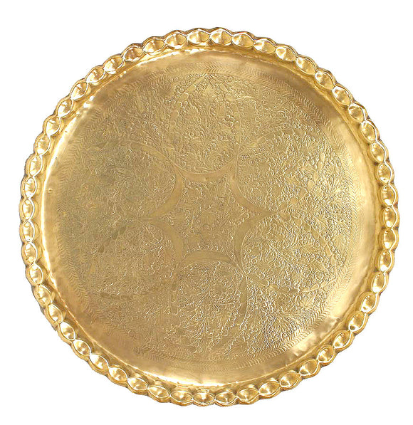 Middle Eastern Moorish Round Brass Tray