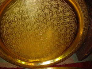 Large round metal Moroccan brass tray table