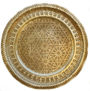 Moroccan Moorish Round Large Brass Tray 39 inches Diameter