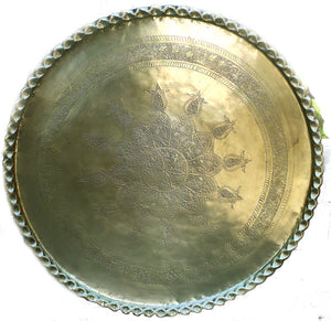 Large Middle Eastern Moorish Round Brass Tray