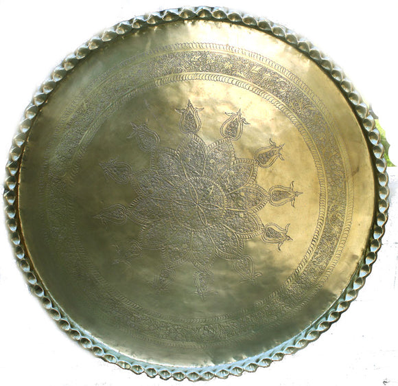 Large Middle Eastern Moorish Round Brass Tray 47 Inch