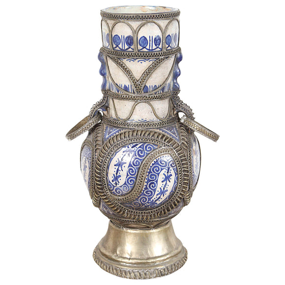 Antique Moroccan Ceramic Vase from Fez