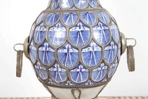 Antique Footed Moroccan Ceramic Vase from Fez