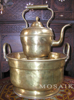 Moroccan Brass Kettle and Hand Washing Basin