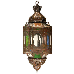 Moroccan Lamp with Colored Stained Glass