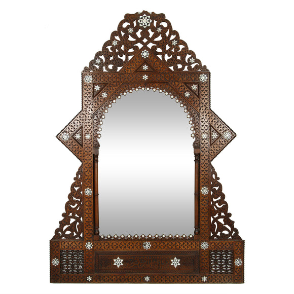 Antique 19th c. Syrian Damascus mirror with mother of pearl
