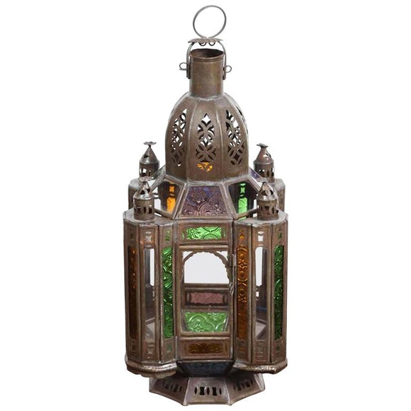 Hand- Crafted Moroccan Glass Lantern