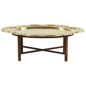 Hollywood Regency Oval Brass Tray Table