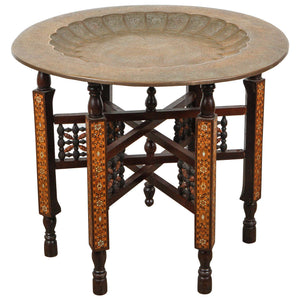 Moorish Brass Tray Table on Inlaid Folding Stand