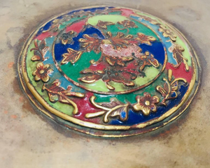 Brass Art Deco Lidded Box with Enameled Decoration