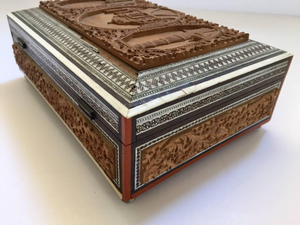 19th Century Anglo-Indian Jewelry Box with Lidded Compartments