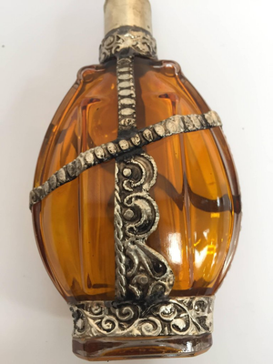 Glass Perfume Bottle with Embossed Metal Overlay