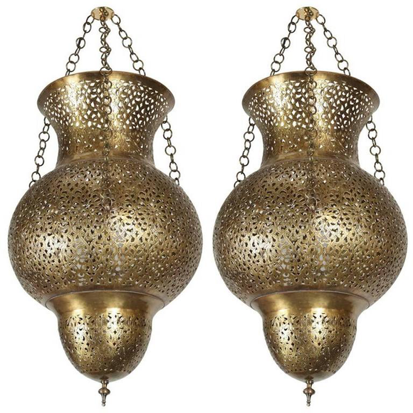 Pair of Moroccan Moorish Polished Brass Chandeliers
