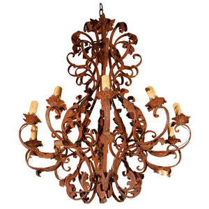 Large French Iron Chandelier
