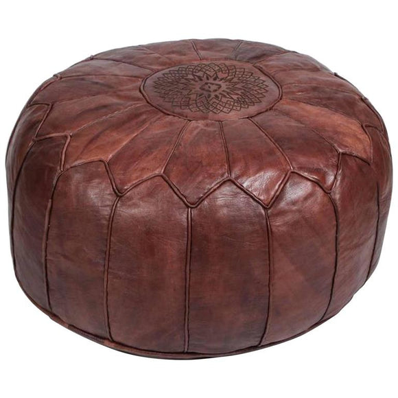 Large vintage round Moroccan leather pouf