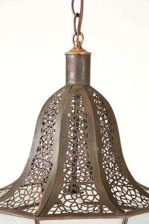 Moroccan Hanging Pendant with Milky Frosted Glass