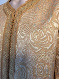 Moroccan Caftan in Gold Bronze Metallic Brocade, Maxi Gown Dress Kaftan