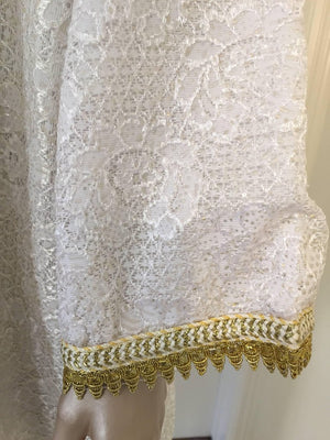 Moroccan Vintage Caftan in White and Gold Lace 1970s Kaftan Maxi Dress