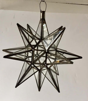 Moroccan Clear Glass and Metal Moravian Star Shape Lantern Pendant