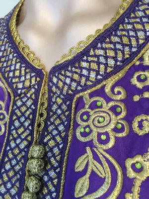Moroccan Kaftan Purple and Gold Embroidered Maxi Dress Caftan