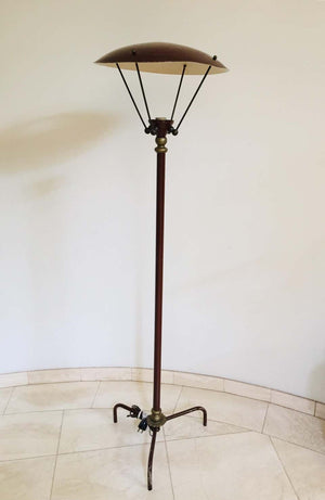Sculptural Vintage French Tripod Floor Lamp Brown Enamel Shade, 1950s
