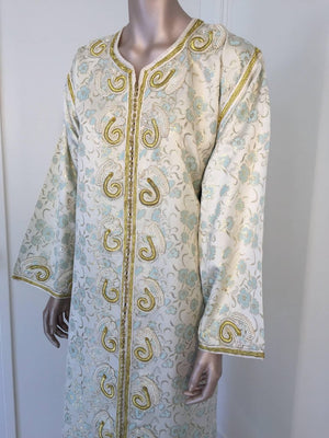 Moroccan Caftan, White Floral Brocade Kaftan Embroidered with Gold Threads