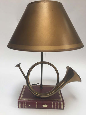 Vintage Brass Looped Hunter's Horn Bugle Made into a Table Lamp by Robert Abbey