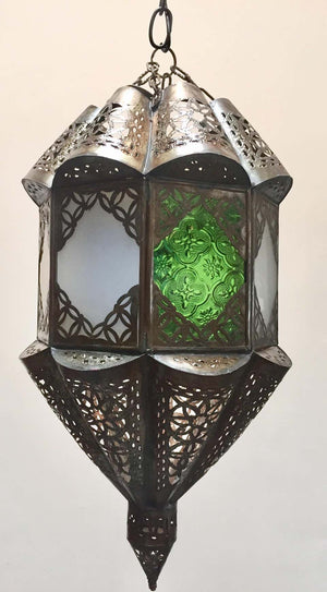 Moroccan Handcrafted Moorish Metal and Glass Lantern