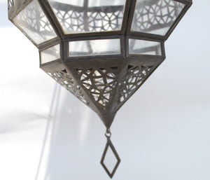 Moroccan Clear Glass Diamond Lantern