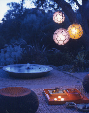 Outdoor Moroccan Globe Glass Hanging Lantern