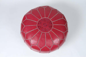 Moroccan Handcrafted Leather Ottoman, Pouf