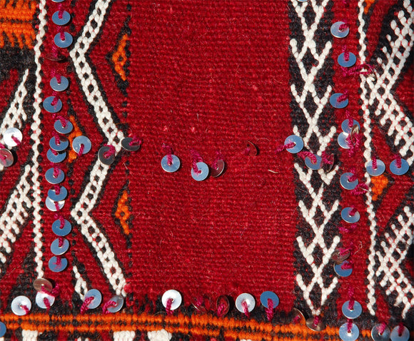 Moroccan Tribal Red Rug With Sequins