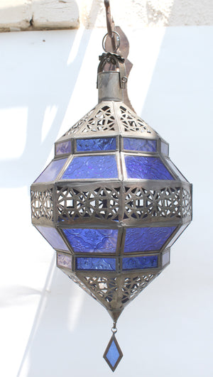 Moroccan Blue Glass Diamond Lantern