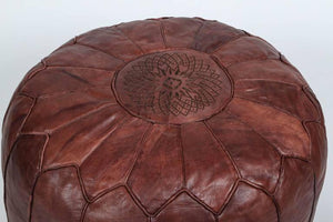 Pair of Large Brown Moroccan Leather Poufs