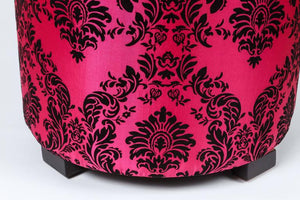 Pair of Modern Fuchsia and Black Moroccan Stools