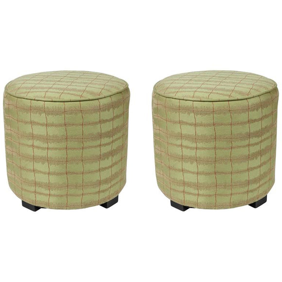 Pair of Modern Green Moroccan Stools