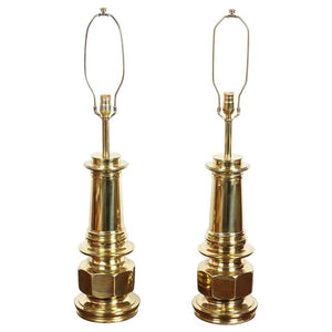 Pair of Polished Gold Brass Table Lamps
