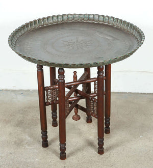 Persian Mameluke Style Tray Table on Wooden Folding Stand
